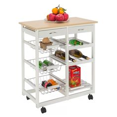 SSLine Rolling Kitchen Island with Wood Top, Microwave Stand Baker Cart on Wheels Kitchen Cutting Table Storage Rack Trolley Cart with Baskets & Drawers - Wood Color Kitchen Storage Trolley, Portable Kitchen Island, Table Storage, Storage Drawers, Storage Rack, Storage Ideas, Kitchen Carts, Buy Kitchen, Wood Storage