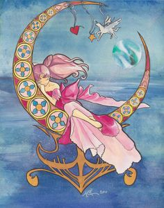Chibi Moon. I like how she is leaning on her circle thing instead of it just being behind her like most art nouveau.