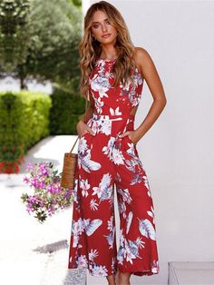 This soft jumpsuit worth freaking out over. This jumpsuit features a round neck, sleeveless, waist hollow,printed floral adjustable shoulder straps and open back design. Bohemia Dress, Printed Jumpsuit, Floral Jumpsuit, Plus Dresses, Maternity Dresses, Types Of Fashion Styles, Womens Fashion, Fashion Trends, Unique Fashion