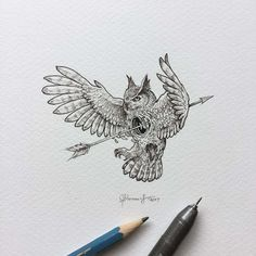 Creative artist Kerby Rosanes, an illustrator based in Manila, Philippines. Kerby Rosanes uses ink primarily in their drawings. For more drawings →View Website Owl Tattoo Drawings, Cool Art Drawings, Ink Pen Drawings, Tattoo Sketches, Owl Tattoos, Tattoo Ink, Arm Tattoo, Fish Tattoos, Buddha Tattoos
