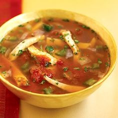 South Beach Mexican chicken soup1 tablespoon canola oil **1 small onion, chopped ** 1 jalapeno pepper, diced  2 garlic cloves, minced ** 2 tspns ground cumin ** 5 C low-sodium chicken broth *  1-1/2# boneless, skinless chicken breasts ** 2 C salsa ** Salt & black pepper *****Heat oil in a large saucepan over medium heat. Add onion and jalapeno; cook,  until are tender, Stir in garlic and cumin; cook 30 seconds more.   ***Add broth, bring to a simmer. Add chicken and cook Stir in salsa,