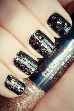 #Inspiredby Black Nails (galaxy painting diy nail polish) Nail Art Designs, Black Nail Designs, Black Nail Polish, Nail Polish Art, Dark Nails, Gold Nails, Glitter Nails, Ombre Hair Color, Hair Colors