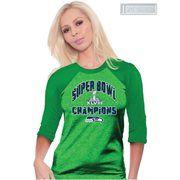 Seattle Seahawks Super Bowl XLVIII Champions Ladies Swarovski Crystals Three-Quarter Sleeve T-Shirt - Action Green