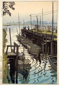 Kasamatsu Shiro - Ferry in Edogawa Imai, 1952