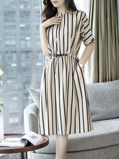 Stripes Half Sleeve Gathered Pockets Plus Size Dress - ClothingI Frock For Women, Elegant Dresses For Women, Stylish Dresses For Girls, Simple Dresses, Casual Dresses, Sexy Dresses, Girls Fashion Clothes, Fashion Dresses, Dresses To Wear To A Wedding