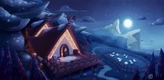 Shepherd's house in moonlight on Behance