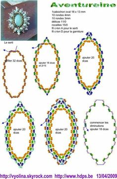 A pattern for pendant or ring or brooche Aventureine by Vyolina.  (Part 2 of 4).  U need:    1 cabochon or button 18×13 mm    10 round beads 4 mm    10 round beads 3 mm    seed beads (delica) 110    seed beads 150  - See more at: http://beadsmagic.com/?p=626#more-626