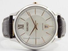 Seiko Quartz Sapphire Glass Silver Dial SGEH55 SGEH55P1 SGEH55P Men's Watch