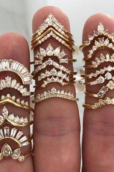 Stacked Engagement Ring, Stacked Wedding Rings, Dream Engagement Rings, Diamond Wedding Rings, Unique Wedding Rings, Halo Engagement, Wedding Ring Bands, Bijoux Piercing Septum, Zierlicher Ring
