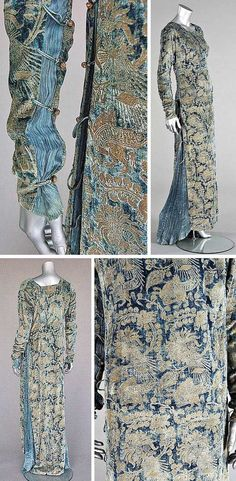 Stencilled velvet gown, Mariano Fortuny, Venice, early 20th century. Blue velvet stencilled in gold with medieval-style patterns. Sides inset with pleated silk, laced with silk cords, & fastened with Murano glass beads