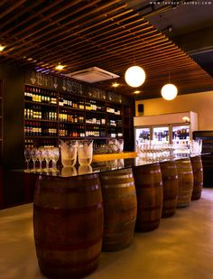 rustic wine bar - barrels a cool DIY fir a basement/mancave bar
