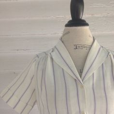 Vintage 1980s PURPLE and White Blouse by runaroundsuevintage