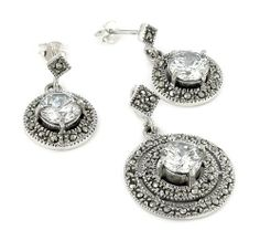 Marcasite And Cz Round Earring And Pendant Set Shop4Silver. $53.70. Approximate pendant Length: 28 MM (1.09 INCHES). Approximate pendant Width: 20 MM (0.78 INCHES). Save 70% Off!