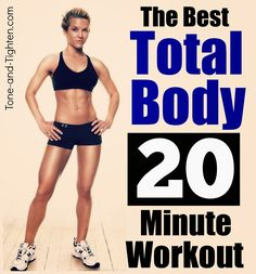 The best 20-minute total-body shred you will find on Pinterest! Lace up and prepare to sweat! From Tone-and-Tighten.com