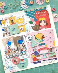 Layout com Spinner Card - Papéis Pebbles Inc. - Aniversário - Happy Birthday! It's Your Birthday, Happy Birthday, Spinner Card, Animal Party, Scrapbooking Layouts, Eat Cake, Dan, Happy Aniversary, Happy B Day