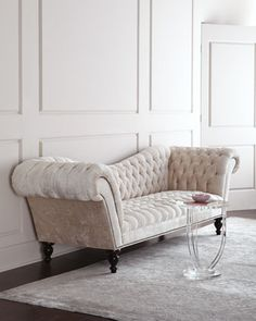 """Recover my olive green sofa to look like this one. Use Greenhouse Fabrics Velvet in """"Snow""""- CL"""