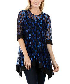 Look at this #zulilyfind! Black & Blue Sheer Dot Handkerchief Tunic by Aster #zulilyfinds