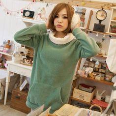 Tokyo Fashion - Contrast-Collar Fleece Long Top
