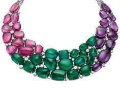 Bulgari - Emerald (216,84 ct), Rubellite, Amethyst and Diamond Necklace.