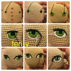 Amigurumi how to embroider eyes shown in photos.