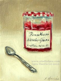 Itty Bitty Bits of Pretty. . . French Preserves and Silver Spoon -Still Life 3x4 Original Painting in OIL by LARA. $34.00, via Etsy.