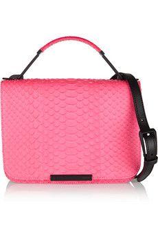 Emilio Pucci Pitone leather-trimmed neon python shoulder bag | THE OUTNET