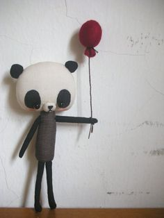 Panda with balloon by Evangelione on Etsy