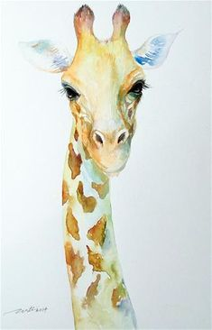 """Daily Paintworks - """"Pale Pal Giraffe"""" by Arti Chauhan"""