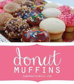 Yummy donut muffin recipe. Great idea for breakfast.