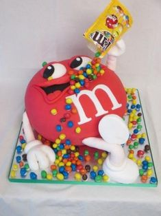 m&m gravity defying cake