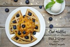 High nutrient low histamine GF waffles with antihistamine & anti-inflammatory basil and ginger infused peach compote.