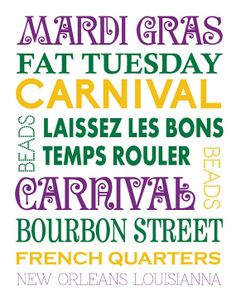 Mardi Gras subway sign- Mardi Gras Poster