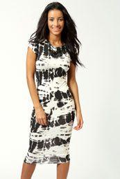 Anya Cap Sleeve Splatter Print Midi Dress