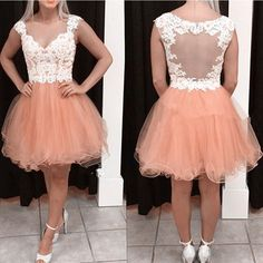 2017 Appliques Tulle Homecoming Dresses Short V Neck Backless Sexy Cocktail Party Dresses vestido de fiesta Sweet 16 Dresses