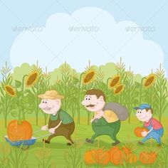 Farmers with the Harvest of Pumpkins  #GraphicRiver         Cartoon farmers: grandfather, son and grandson harvest pumpkins.   Vector EPS 8 plus AI CS 5 plus high-quality Jpeg. Editable vector file, containing only vector shapes. No gradients. No transparencies.     Created: 9May13 GraphicsFilesIncluded: JPGImage #VectorEPS #AIIllustrator Layered: No MinimumAdobeCSVersion: CS5 Tags: agriculture #agronomy #autumn #cartoon #character #country #crop #farm #farmer #farmworker #field #garden…
