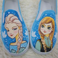 【Frozen】Hand Made Painting Frozen Queen Elsa and Princess Anna Cute Canvas Flats Shoes Free Ship SP140834 #cosplay #lolita
