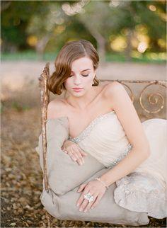 Strapless wedding gown from ruche