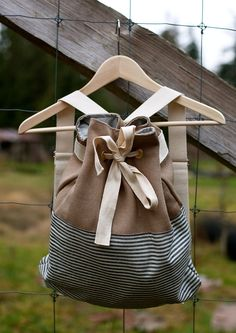 Canvas Drawstring Backpack - All Organic Fabrics - Stripes - Khaki Hemp Canvas. $115.00, via Etsy.