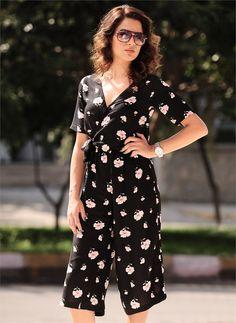 Bayan Tulum Çiçekli Siyah