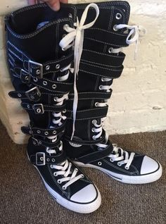 0bb7d0d9be1 Converse All Star Black White Chuck Taylor Knee High Tops Buckles 6MENS  8WOMENS