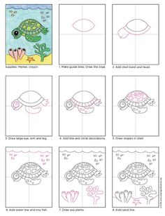 Draw a Cute Sea Turtle. PDF tutorial available. #howtodraw #directdraw