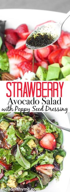 Strawberry avocado salad with poppy seed dressing is a must-try, bursting with flavour, summer salad that is quick and easy to make. | aheadofthyme.com via @aheadofthyme