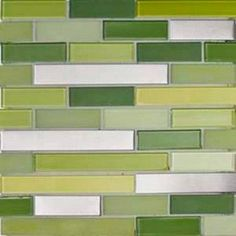 green glass mosaic tiles - kitchen backsplash, want tile like this in the hall bathroom.