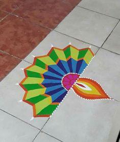 Happy Diwali Easy Diwali Decorations At Home Ideas- Diwali Decor - Make Diwali DIY Arts, Crafts, Paper Bandarwal, Rangoli Designs, and Ideas. Simple Rangoli Designs Images, Rangoli Designs Latest, Rangoli Designs Flower, Small Rangoli Design, Colorful Rangoli Designs, Rangoli Patterns, Rangoli Ideas, Flower Rangoli, Beautiful Rangoli Designs