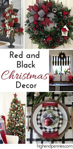 Red, Black, and White Christmas decor. All the inspiration you need to create a beautiful home for the holidays. Neutral Christmas goes with almost every house. Find more at www.highendpennies.com Black Christmas Tree Decorations, Black Christmas Trees, Christmas Holidays, Christmas Wreaths, Christmas Crafts, Christmas Ideas, Christmas 2019, Christmas Lights, Christmas Villages
