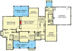 New American House Plan with Separate Game and Play Rooms - floor plan - Main Level My House Plans, Craftsman Style House Plans, Cottage House Plans, Rm 1, Farmhouse Floor Plans, American Houses, Roof Detail, Room Planning, Play Rooms