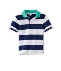Lacoste Kids Boys' Short Sleeve Contrast Collar And Stripe Pique Polo (Toddler/Little Kids/Big Kids) White/Corvette Blue/Rockwood - Zappos.c...