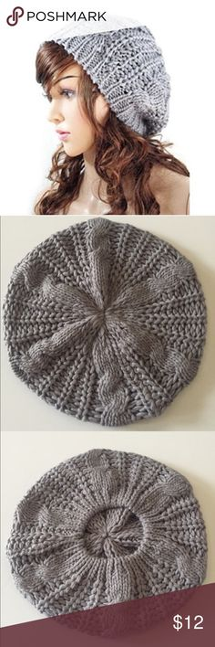 Baggy Beret Chunky Knit Hat Gray Baggy Beret Chunky Knit Hat!! Trendy and warm for winter! Accessories Hats