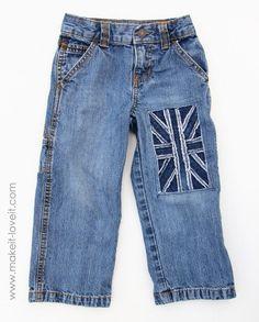 Little Boy Jeans: Refashion (with Union Jack flag)