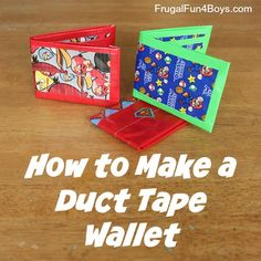 How to Make a Duct Tape Wallet - Step-by-Step Instructions! We've been really into duct tape at our house lately! First it was velcro duct tape bracelets, and now Aidan and I have moved on to duct tape wallets. There are a lot of tutorials out there for duct tape wallets, but I thought I would go ahead and share ours since summer break is on the horizon! Both the bracelets and the wallets would make great summer crafts for either boys or girls. For our wallets, we used a tutorial from...